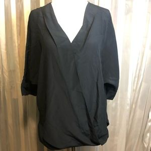 Trina Turk Silk Black V Neck Wrap Blouse S
